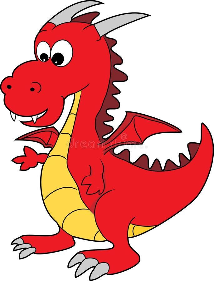 Um dragão feliz dos desenhos animados vermelhos bonitos ilustração do vetor