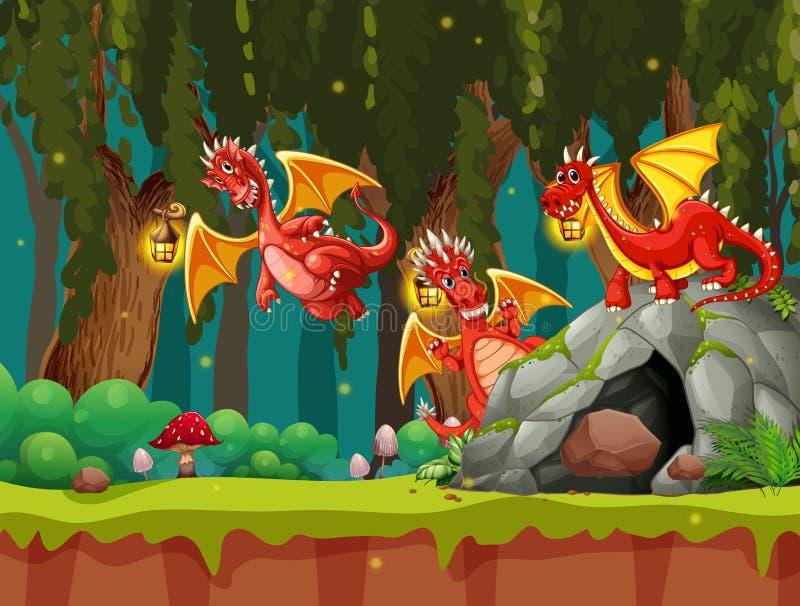 Um dragão na floresta escura ilustração royalty free