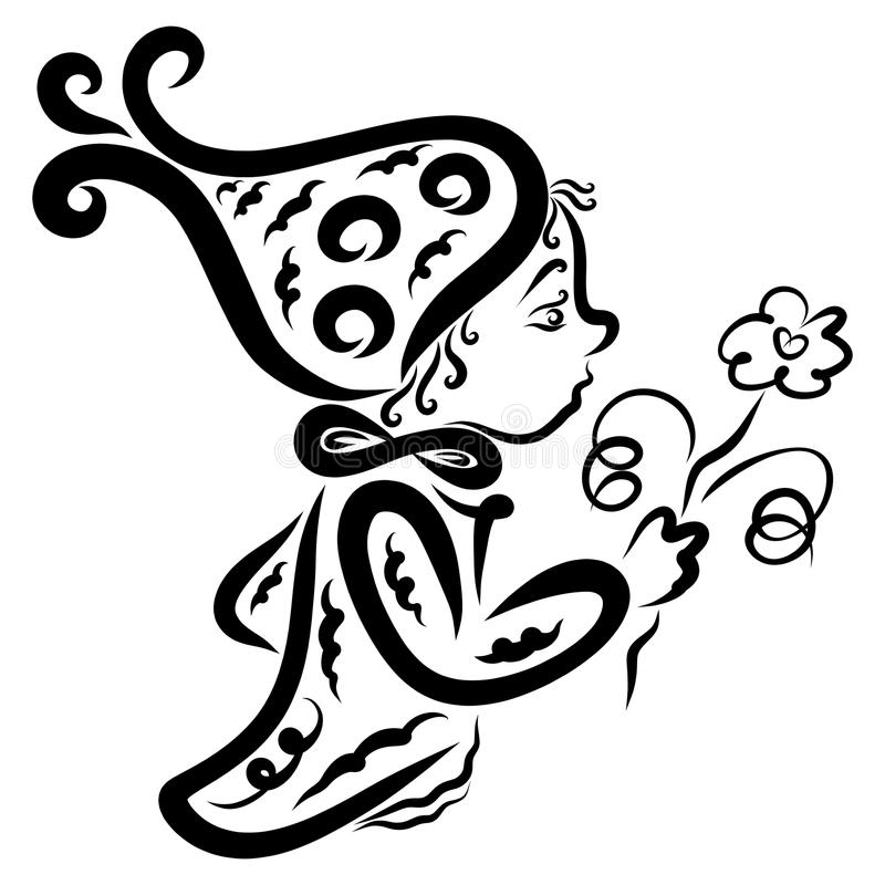 Um duende pequeno bonito ou um anão com uma flor ilustração stock