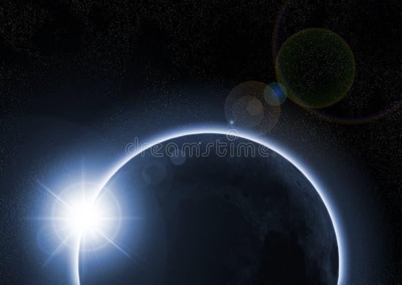 Um eclipse solar com a lua ilustração do vetor