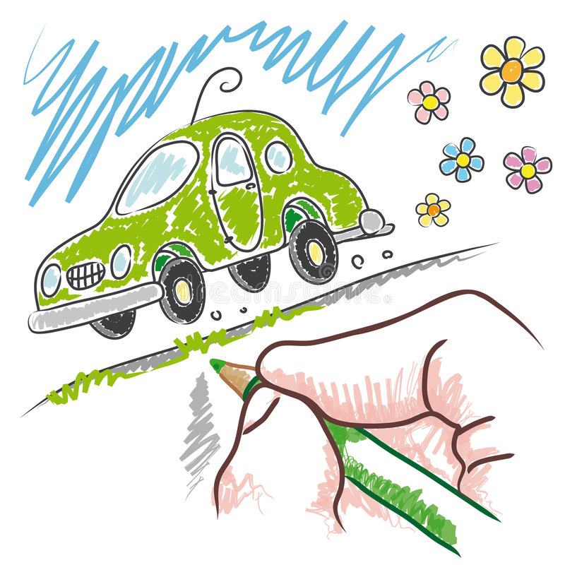 Um eco-carro novo (vetor) ilustração royalty free