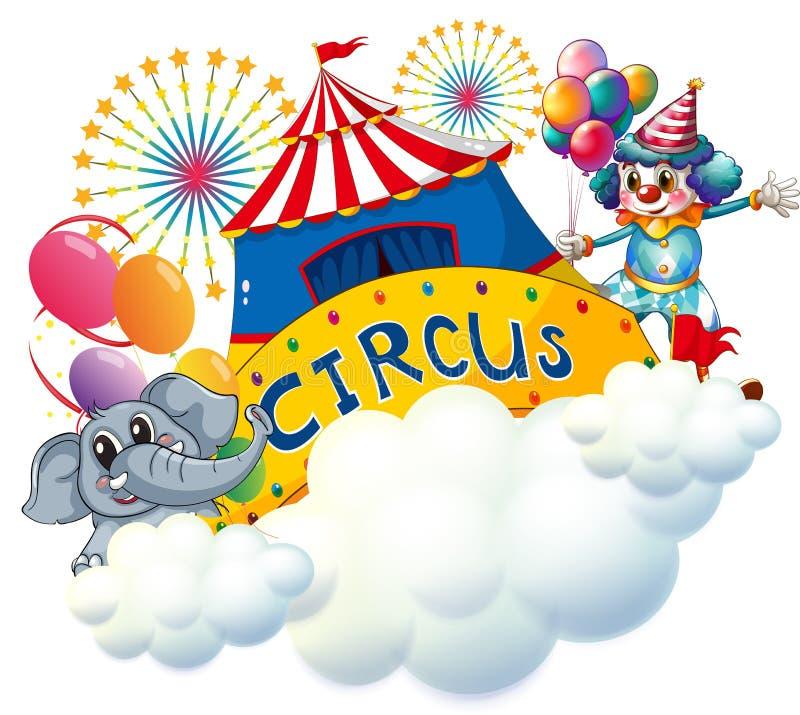 Um elefante e um palhaço com um signage do circo no centro ilustração stock