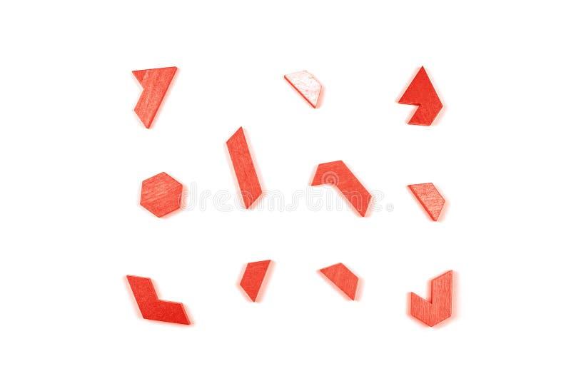 Um enigma do tangram do hexágono no coral de vida fotos de stock