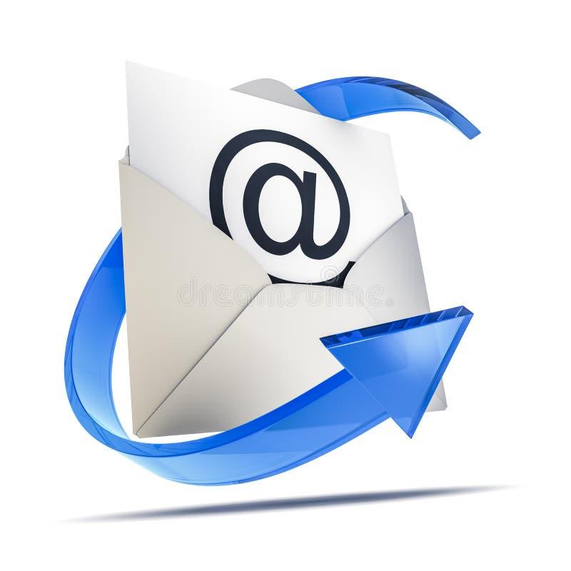 um envelope com um sinal do email ilustração royalty free