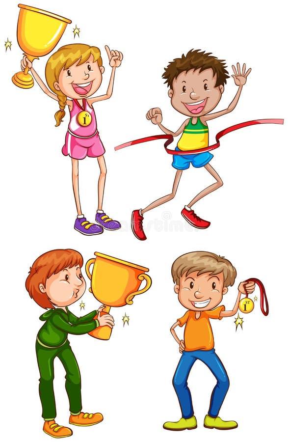Um esboço colorido simples dos vencedores ilustração do vetor
