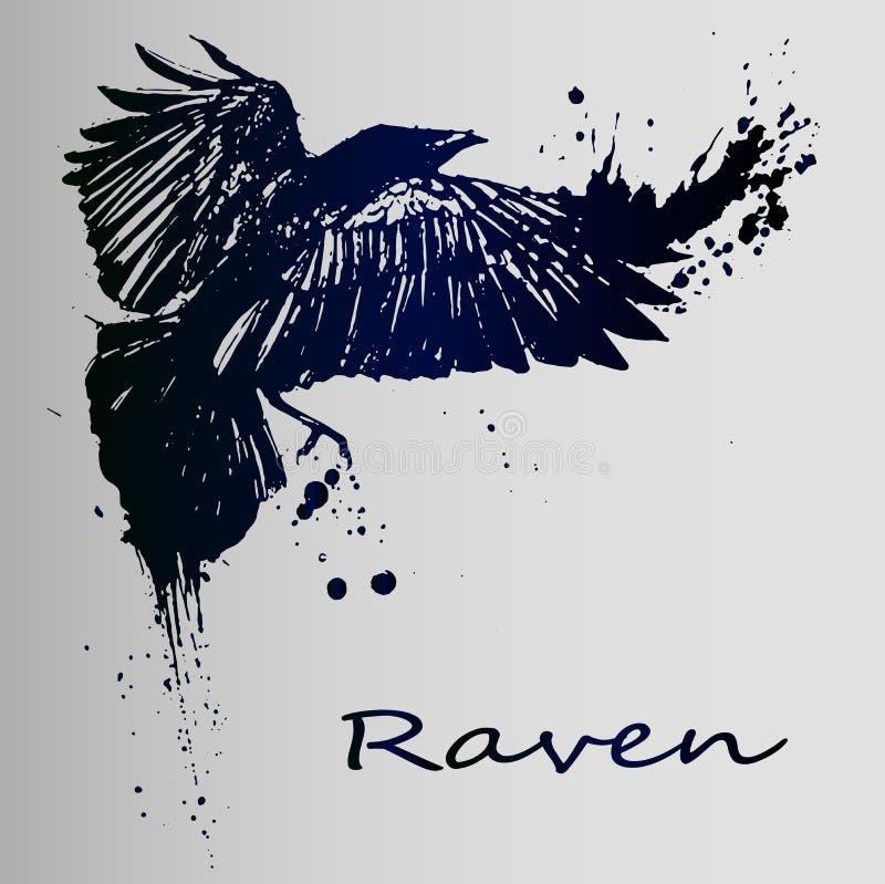 Um esboço criativo de uma tatuagem é um corvo escuro ilustração royalty free