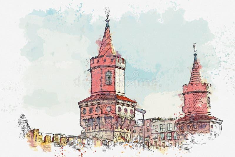 Um esboço da aquarela ou uma ilustração A arquitetura de Berlim Vista da ponte sobre o rio ilustração royalty free