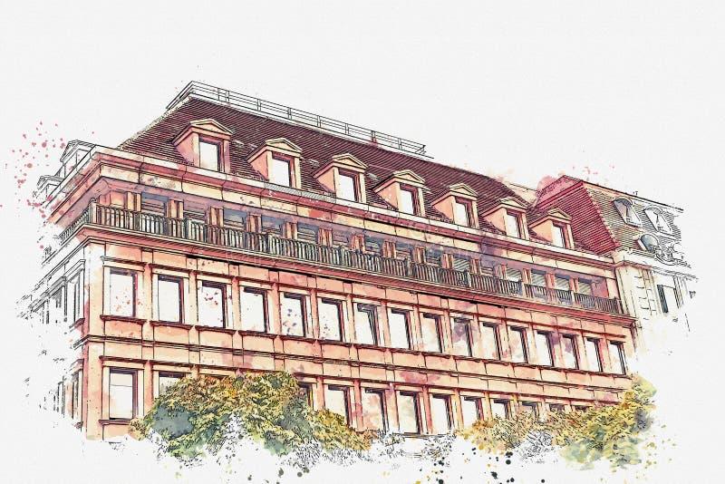 Um esboço da aquarela ou uma ilustração Construção do museu Arquitetura europeia tradicional em Berlim ilustração do vetor