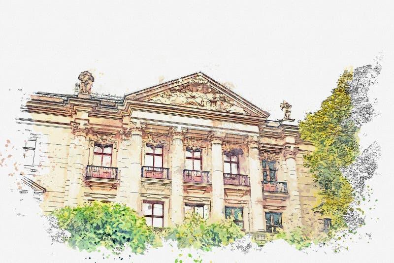 Um esboço da aquarela ou uma ilustração Construção do museu Arquitetura europeia tradicional em Berlim ilustração stock