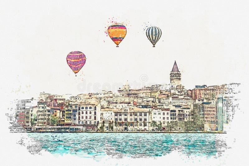 Um esboço da aquarela ou uma ilustração de uma ideia bonita da arquitetura tradicional em Istambul ilustração stock