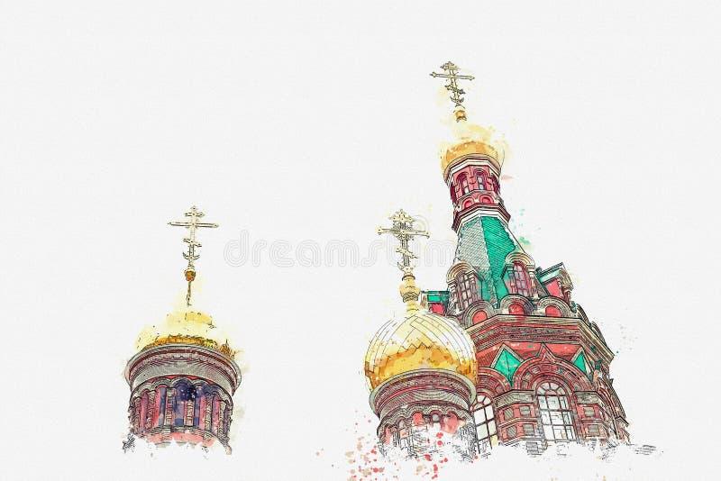 Um esboço da aquarela ou uma ilustração Igreja ortodoxa em Rússia ilustração do vetor