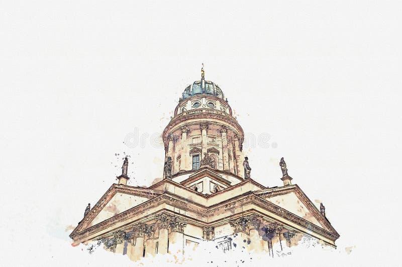 Um esboço da aquarela ou uma ilustração Os DOM franceses da catedral ou do Franzoesischer em Berlim, Alemanha ilustração stock