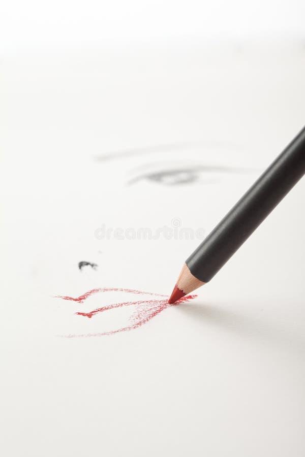 Um esboço da composição, com uma boca vermelha do lápis do bordo imagens de stock royalty free