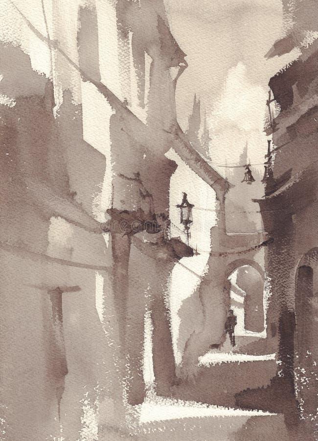 Um esboço da rua da cidade, cor do sepia Estilo da aguarela ilustração royalty free