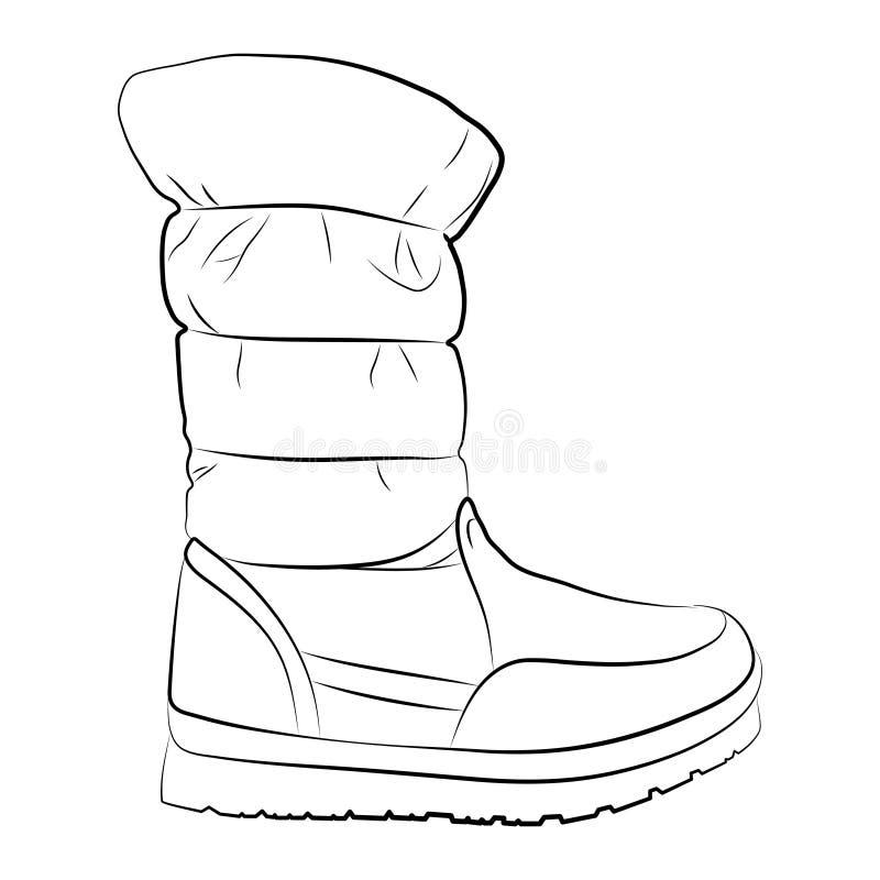 Um esboço de botas fêmeas em um fundo branco ilustração stock