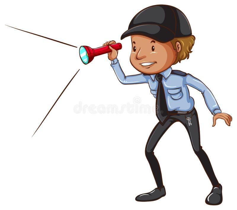 Um esboço de um agente de segurança com uma lanterna elétrica ilustração do vetor