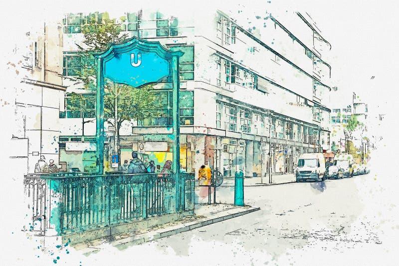 Um esboço ou uma ilustração da aquarela berlim Sinal da entrada ao metro ilustração stock