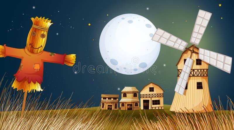 Um espantalho no ricefield perto do moinho de vento ilustração stock