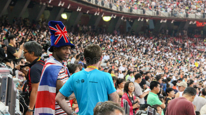 Um espectador britânico no Pequim 2015 dos campeonatos mundiais de IAAF fotografia de stock royalty free