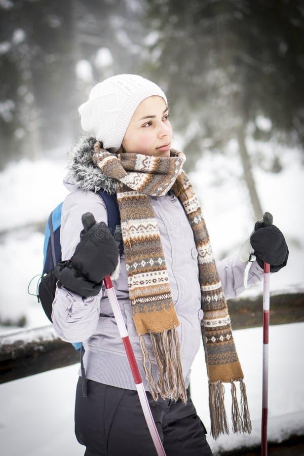 Um esqui corta-mato da menina em uma floresta nevado imagens de stock royalty free