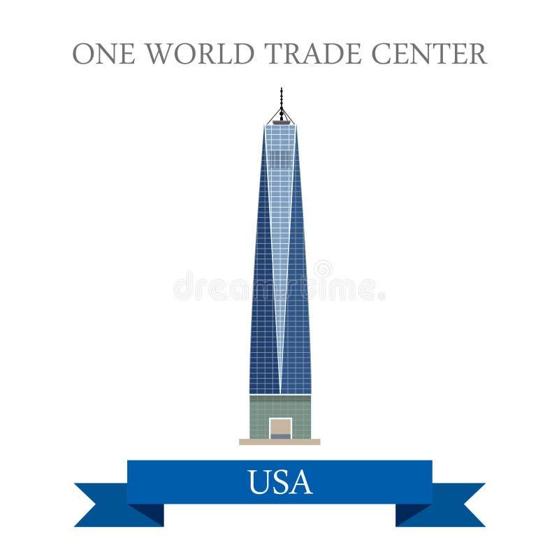 Um Estados Unidos de New York do World Trade Center fla ilustração royalty free