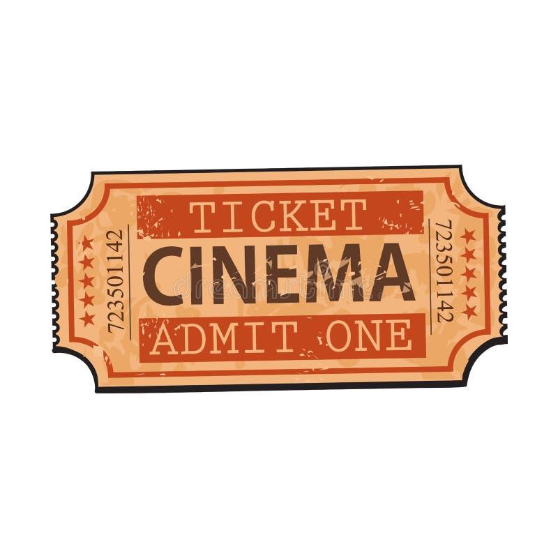 Um estilo retro, cinema do vintage, bilhete do filme ilustração stock