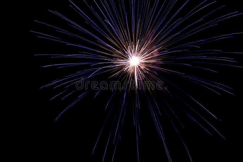 Um estouro delicado dos fogos-de-artifício no céu nocturno fotografia de stock royalty free