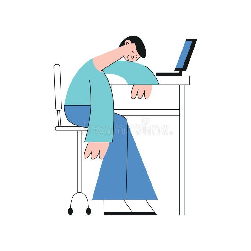 Um estudante masculino, um trabalhador de escritório ou um freelancer triguenho novo sentam-se em uma tabela com um portátil e so ilustração stock