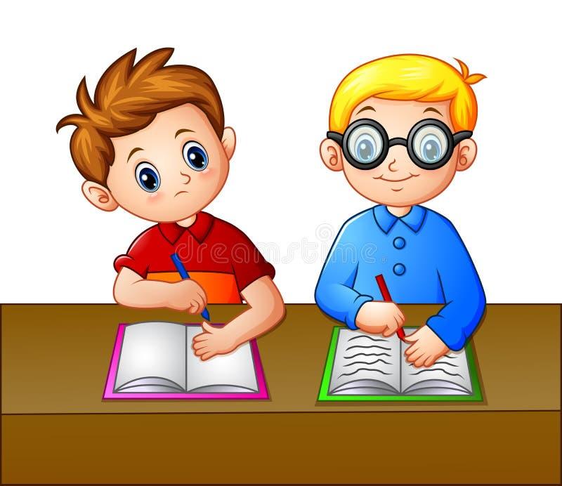 Um estudante que olha sobre o caderno de seu seatmate ilustração stock