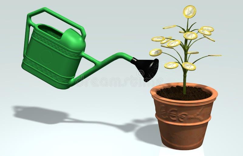 Um euro- dinheiro que pouca árvore molhou em um vaso ilustração do vetor