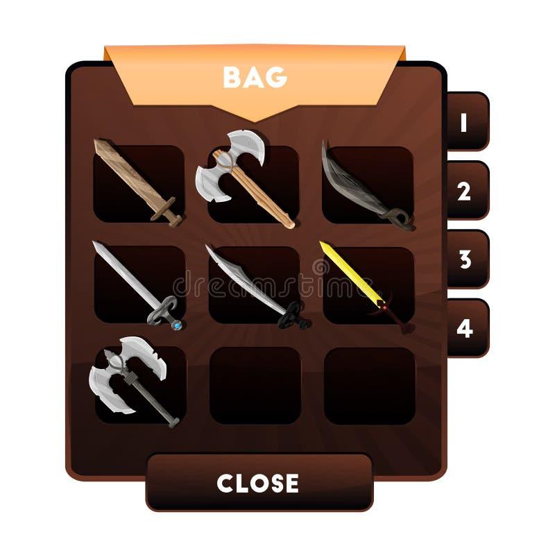 Um exemplo da janela do jogo com a escolha das armas ou dos outros objetos e de recursos em uma trouxa para jogos de computador ' ilustração royalty free
