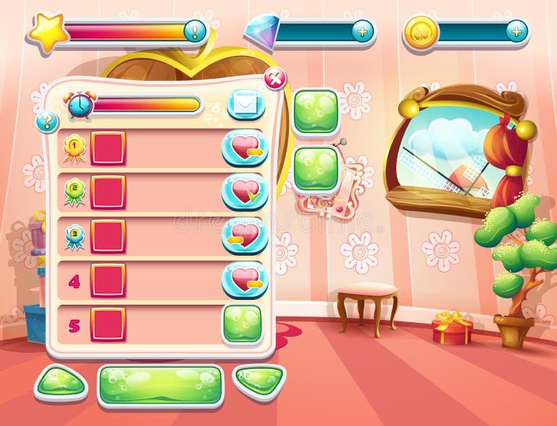 Um exemplo de uma das telas do jogo de computador com uma princesa do quarto do fundo da carga, uma interface de utilizador e um  ilustração stock