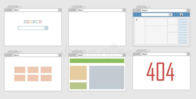 Um exemplo de uma janela do browser com um página da web aberto ilustração royalty free