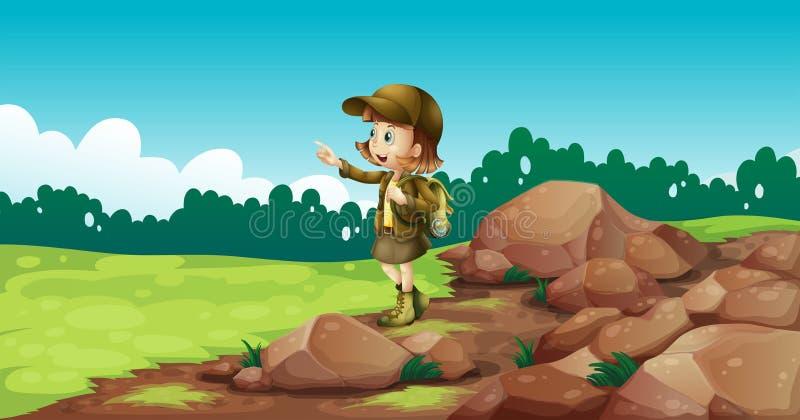 Um explorador fêmea perto das rochas ilustração royalty free