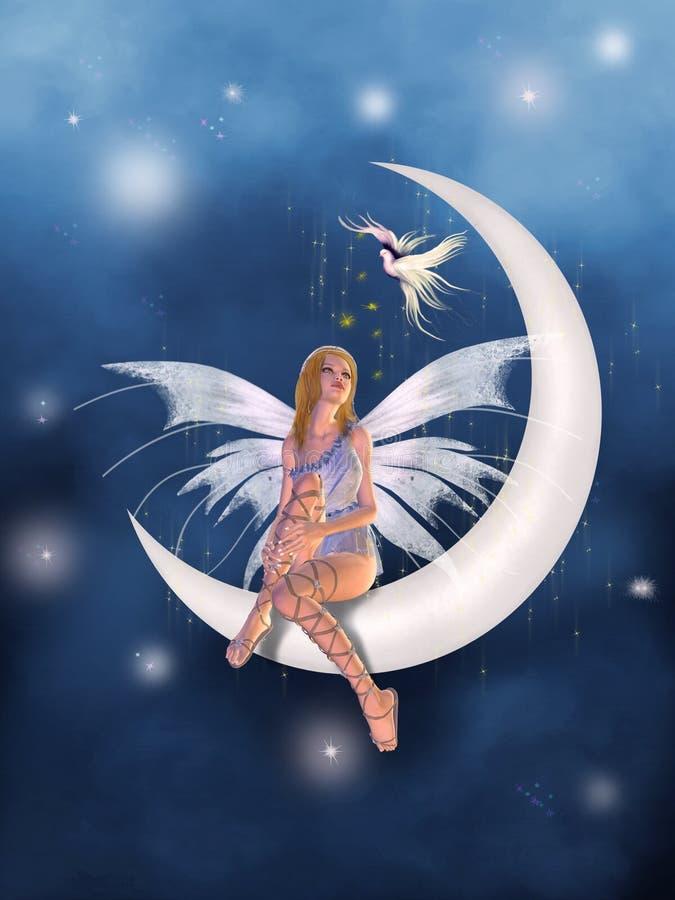 Um fairy na lua ilustração stock