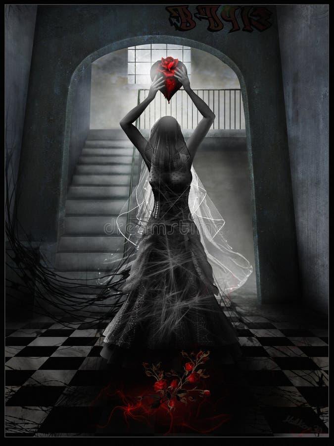 Um fantasma de uma jovem mulher ilustração royalty free