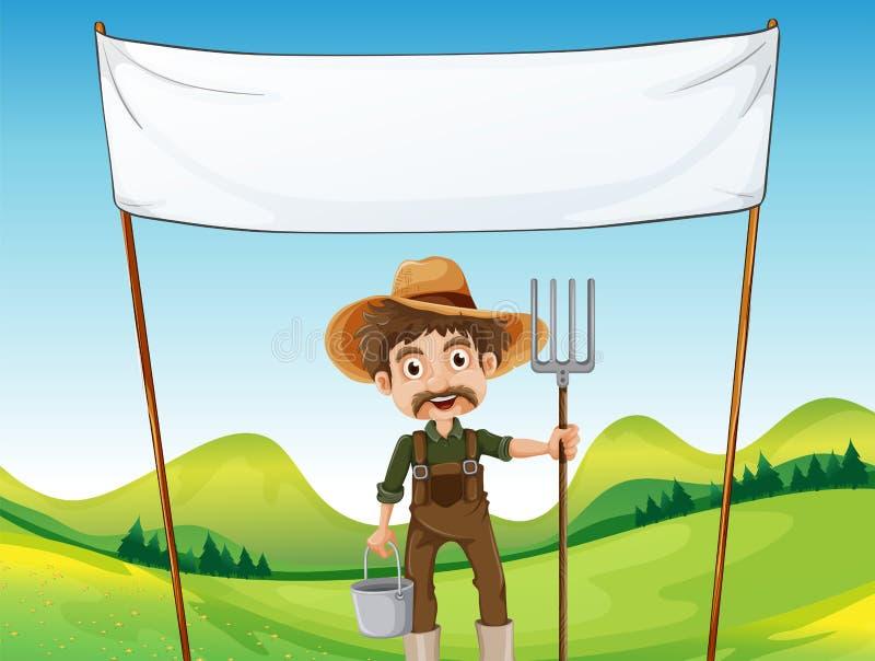 Um fazendeiro abaixo do signage vazio ilustração stock