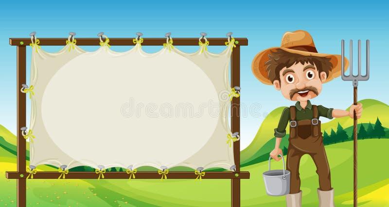 Um fazendeiro ao lado do signage vazio ilustração do vetor