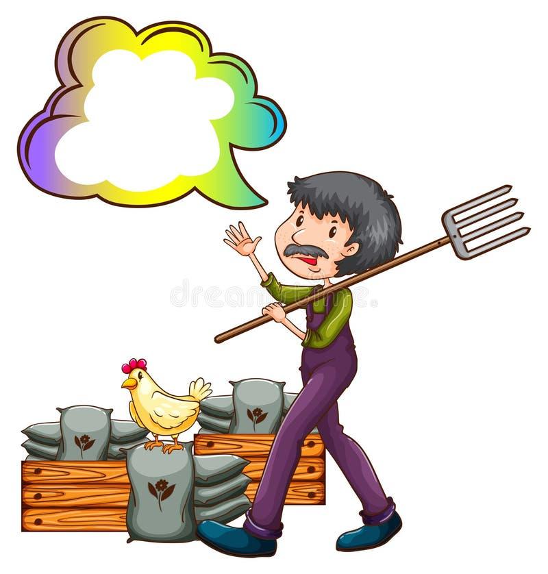 Um fazendeiro com um callout vazio da nuvem ilustração do vetor