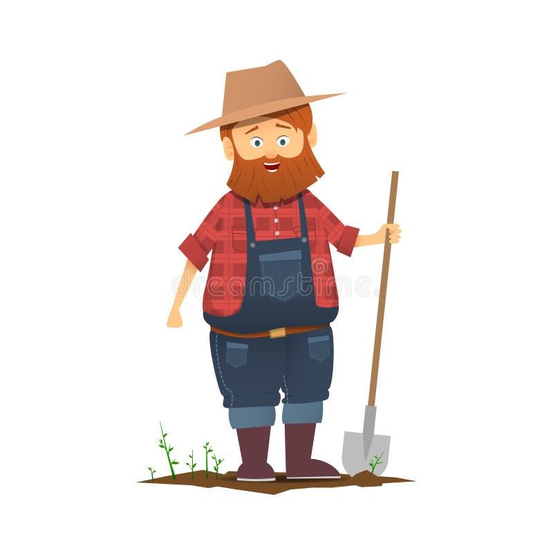 Um fazendeiro com uma pá ilustração stock