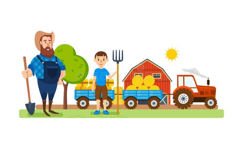 Um fazendeiro em seu lote agrícola, é contratado no enobrecimento ilustração do vetor