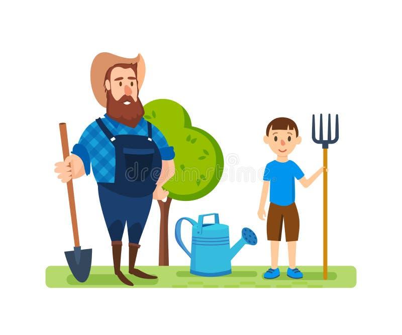 Um fazendeiro em seu lote agrícola, é contratado no enobrecimento ilustração royalty free