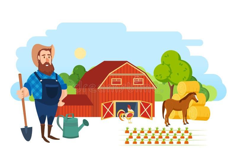 Um fazendeiro em seu lote agrícola, é contratado no enobrecimento ilustração stock