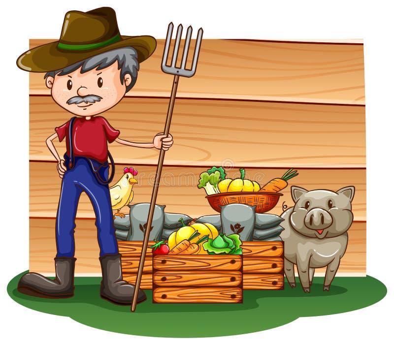 Um fazendeiro na frente do quadro indicador vazio ilustração do vetor