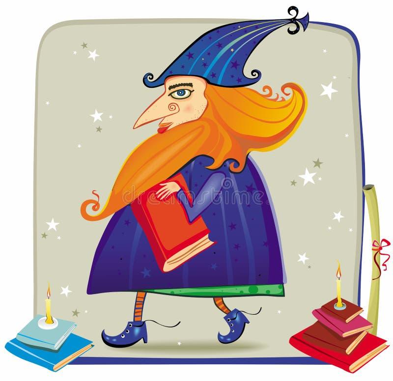 Um feiticeiro amigável, com livros ilustração do vetor