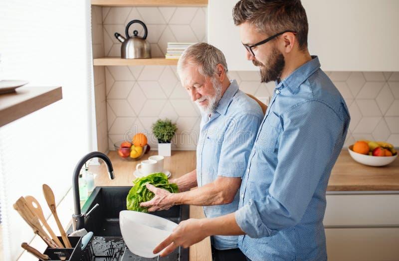 Um filho adulto do moderno e um pai superior dentro em casa, lavando vegetais foto de stock