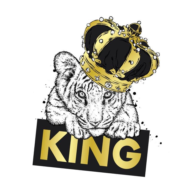 Um filhote de tigre bonito na coroa Ilustração do vetor ilustração royalty free
