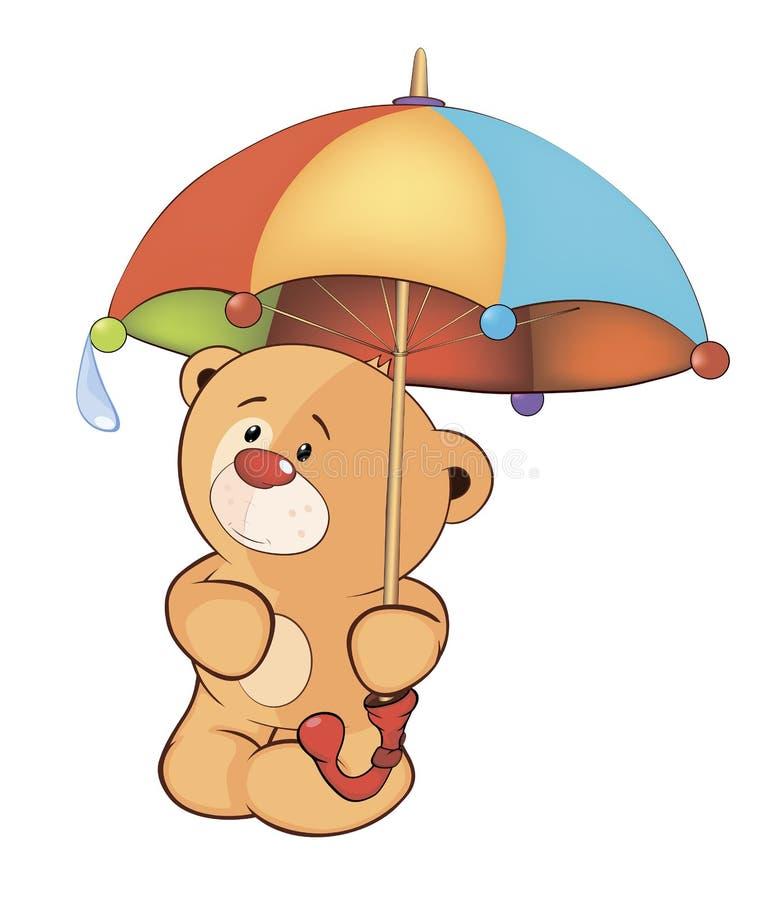 Um filhote de urso e um guarda-chuva ilustração do vetor