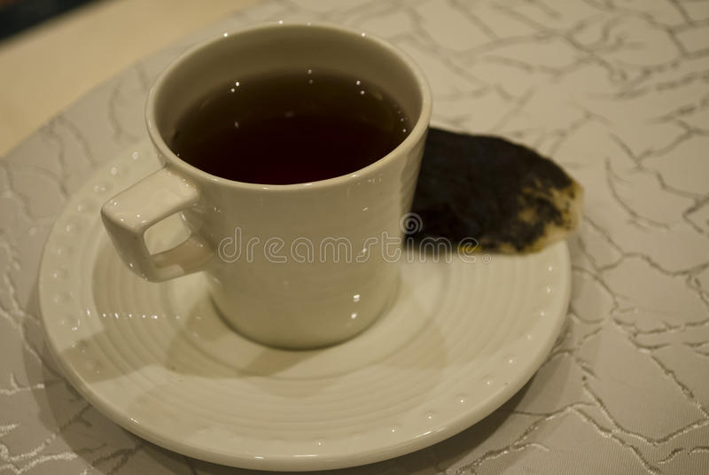 Um fim acima da imagem de um copo de chá fotografia de stock