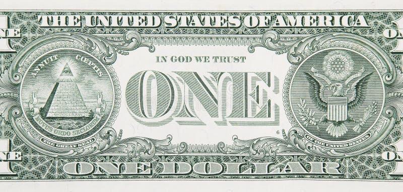 Um fim da parte traseira de Bill de dólar acima imagens de stock